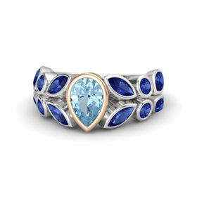 Pear Aquamarine Sterling Silver Ring with Sapphire