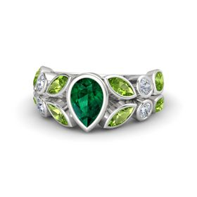 Pear Emerald Sterling Silver Ring with Peridot and Diamond