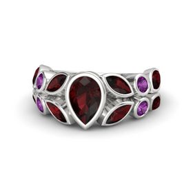 Pear Red Garnet Sterling Silver Ring with Red Garnet and Rhodolite Garnet