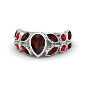Pear Red Garnet Sterling Silver Ring with Red Garnet and Ruby