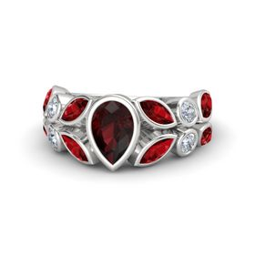 Pear Red Garnet Sterling Silver Ring with Ruby and Diamond