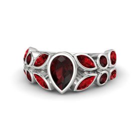 Pear Red Garnet Sterling Silver Ring with Ruby and Red Garnet