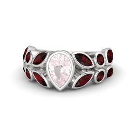Pear Rose Quartz Sterling Silver Ring with Red Garnet