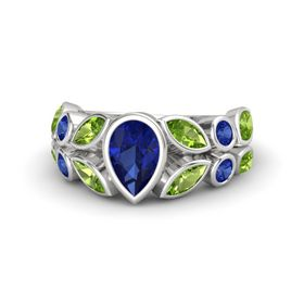 Pear Blue Sapphire Sterling Silver Ring with Peridot and Blue Sapphire