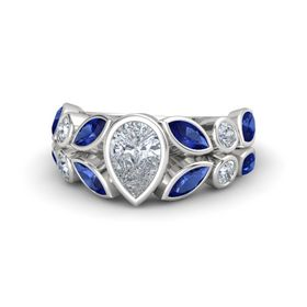 Pear Diamond Sterling Silver Ring with Blue Sapphire and Diamond