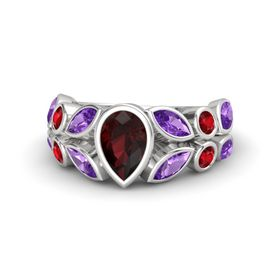 Pear Red Garnet Sterling Silver Ring with Amethyst and Ruby