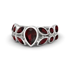 Pear Red Garnet Sterling Silver Ring with Red Garnet