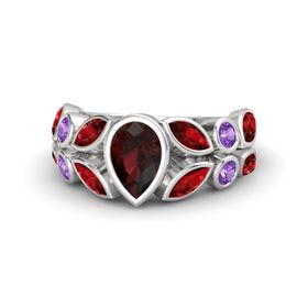 Pear Red Garnet Sterling Silver Ring with Ruby and Amethyst
