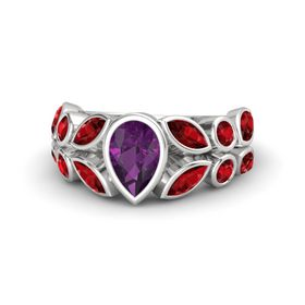 Pear Rhodolite Garnet Sterling Silver Ring with Ruby