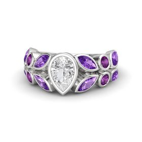 Pear White Sapphire Sterling Silver Ring with Amethyst & Rhodolite Garnet
