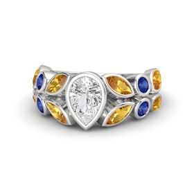 Pear White Sapphire Sterling Silver Ring with Citrine and Blue Sapphire