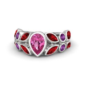 Pear Pink Sapphire Sterling Silver Ring with Ruby & Rhodolite Garnet