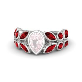Pear Rose Quartz Sterling Silver Ring with Ruby