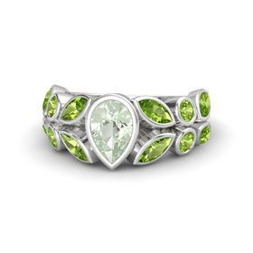 Pear Green Amethyst Sterling Silver Ring with Peridot