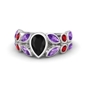 Pear Black Onyx Sterling Silver Ring with Amethyst & Ruby