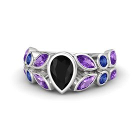 Pear Black Onyx Sterling Silver Ring with Amethyst & Sapphire