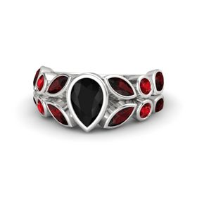 Pear Black Onyx Sterling Silver Ring with Red Garnet and Ruby