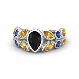 Pear Black Onyx Sterling Silver Ring with Citrine & Sapphire
