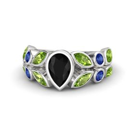 Pear Black Onyx Sterling Silver Ring with Peridot & Sapphire