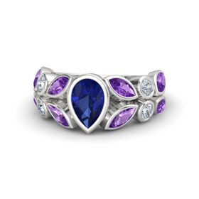 Pear Blue Sapphire Sterling Silver Ring with Amethyst and Diamond