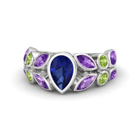 Pear Sapphire Sterling Silver Ring with Amethyst & Peridot