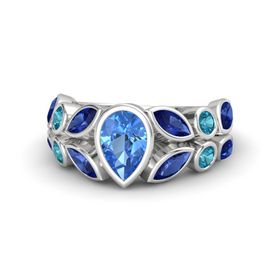 Pear Blue Topaz Sterling Silver Ring with Sapphire & London Blue Topaz