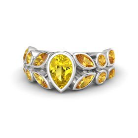 Pear Yellow Sapphire Sterling Silver Ring with Citrine