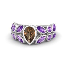 Pear Smoky Quartz Sterling Silver Ring with Amethyst