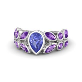 Pear Tanzanite Sterling Silver Ring with Amethyst