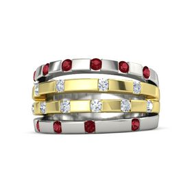 18K White Gold Ring with Ruby and Diamond