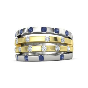 18K White Gold Ring with Blue Sapphire and Diamond