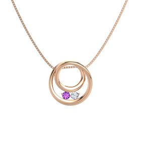 Round Amethyst 14K Rose Gold Necklace with Diamond