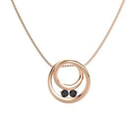 Round Black Diamond 14K Rose Gold Pendant with Black Diamond