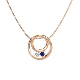 Round Diamond 14K Rose Gold Pendant with Blue Sapphire