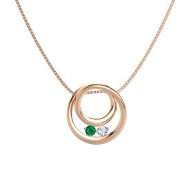 Round Emerald 14K Rose Gold Necklace with Diamond