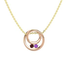 Round Red Garnet 14K Rose Gold Pendant with Amethyst