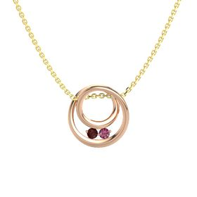 Round Red Garnet 14K Rose Gold Pendant with Rhodolite Garnet