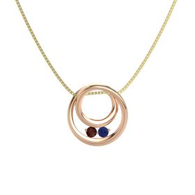 Round Red Garnet 14K Rose Gold Pendant with Blue Sapphire