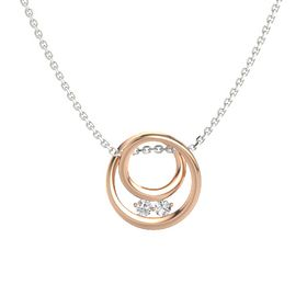 Round White Sapphire 14K Rose Gold Pendant with White Sapphire