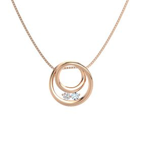 Round White Sapphire 14K Rose Gold Necklace with Aquamarine