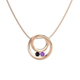 Round Black Onyx 14K Rose Gold Necklace with Amethyst