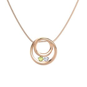 Round Peridot 14K Rose Gold Necklace with Diamond