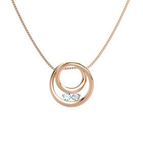 Round Blue Topaz 14K Rose Gold Pendant with Diamond