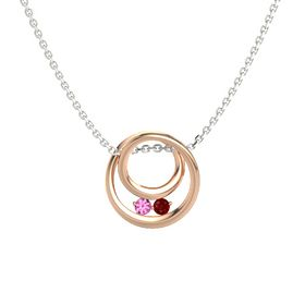 Round Pink Tourmaline 14K Rose Gold Pendant with Ruby
