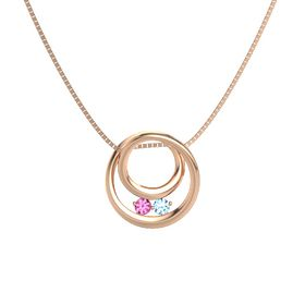Round Pink Tourmaline 14K Rose Gold Pendant with Blue Topaz