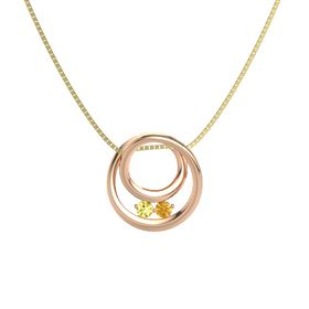 Round Yellow Sapphire 14K Rose Gold Pendant with Citrine