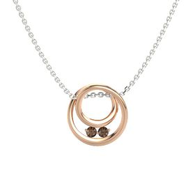 Round Smoky Quartz 14K Rose Gold Pendant with Smoky Quartz