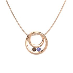 Round Smoky Quartz 14K Rose Gold Necklace with Tanzanite