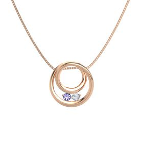 Round Tanzanite 14K Rose Gold Necklace with Diamond