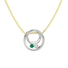 Round Emerald 14K White Gold Pendant with Diamond